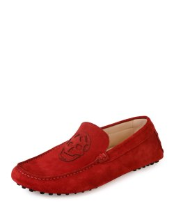 Alexander McQueen Skull-Patch Red Suede Driver Shoes