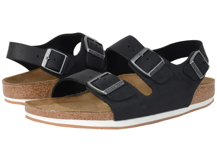 Birkenstock Milano Sport Black Oiled Leather Sandals