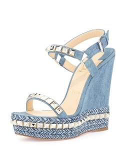 Christian Louboutin Cataclou Blue Denim 140mm Wedge Red Sole Sandals