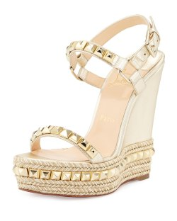 Christian Louboutin Cataclou Studded Sahara Light Gold Leather Wedge Red Sole Sandals