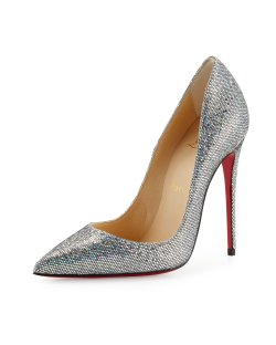 Christian Louboutin So Kate 120mm Glitter Red Sole Pump, Silver