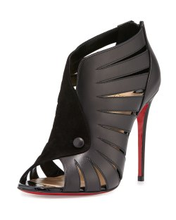 Christian Louboutin Toot Mignonne Caged Open-Toe Red Sole Bootie Shoes
