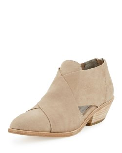 Eileen Fisher Cluster Wheat Leather Crisscross Bootie Shoes