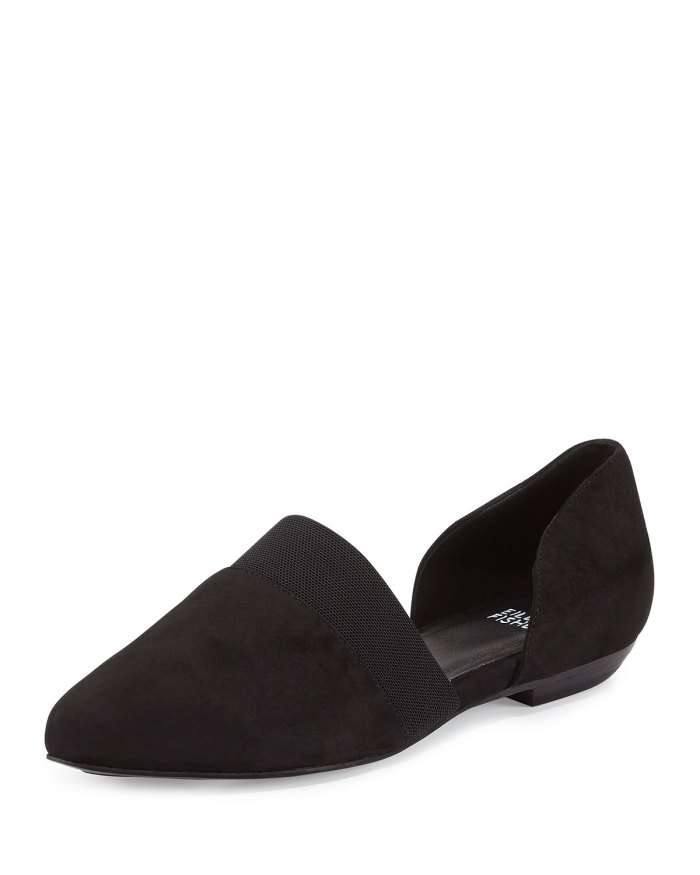 Eileen Fisher Flute Black Pointed-Toe d'Orsay Flat