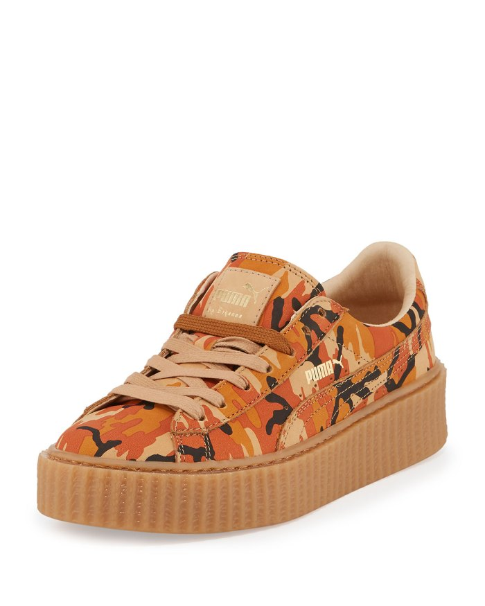 FENTY PUMA by Rihanna Orange Camouflage-Print Suede Platform Creeper Shoes 39ee63850