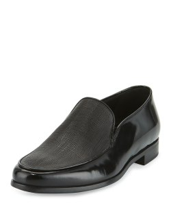 Giorgio Armani Saffiano Black Leather Venetian Loafers