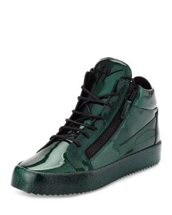 Giuseppe Zanotti Mens Green Glitter Leather Mid-Top Sneakers