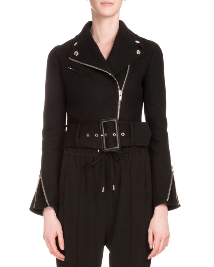 Givenchy Asymmetric-Zip Womens Belted Biker Jacket