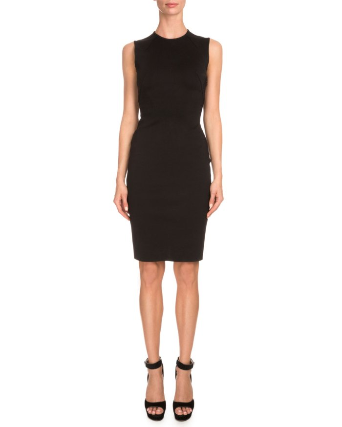 Givenchy Sleeveless Corset-Back Black Sheath Dress