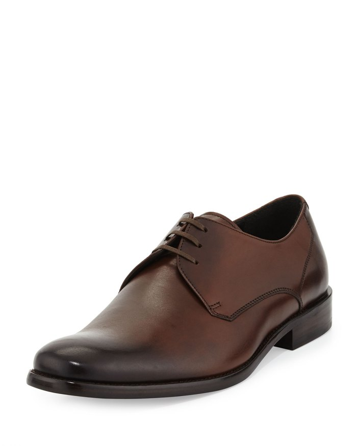 John Varvatos Star USA Calf Brown Leather Dress Lace-Up Derby Shoes