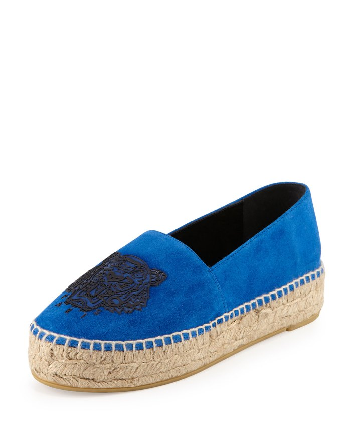 Kenzo Tiger Triple-Platform Blue Espadrille Shoes