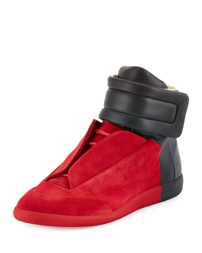 Maison Margiela Future Red Black Colorblock High-Top Sneakers