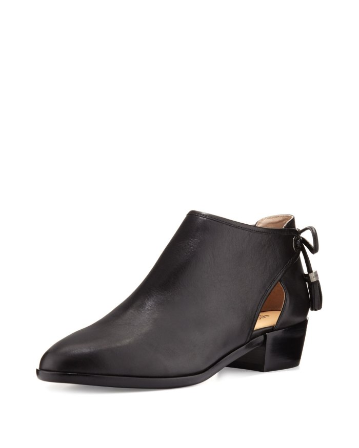 MICHAEL Michael Kors Jennings Black Leather Bow-Back Ankle Boot
