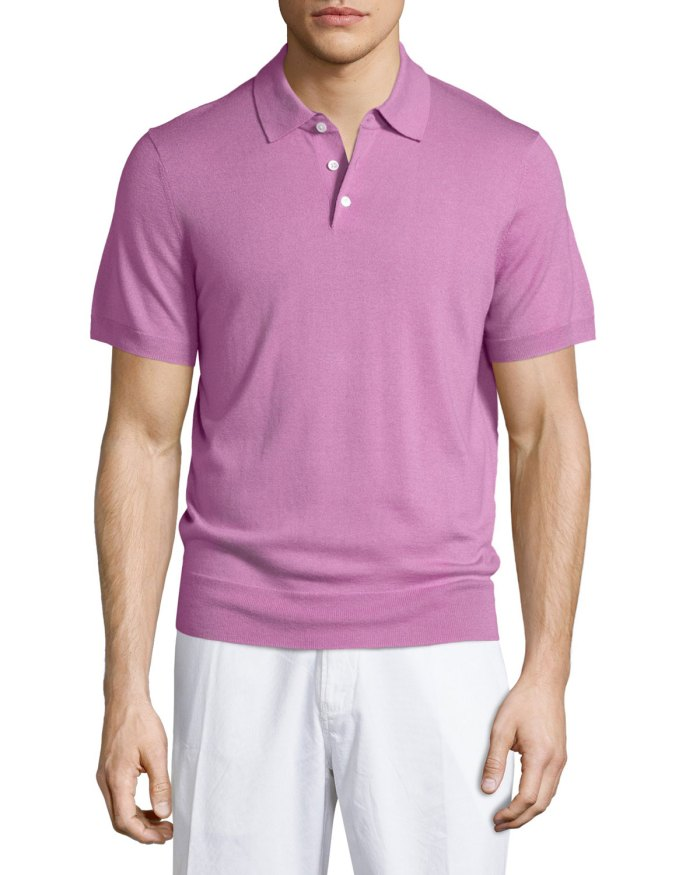 Neiman Marcus Short-Sleeve Pink Cashmere-Blend Polo Shirt