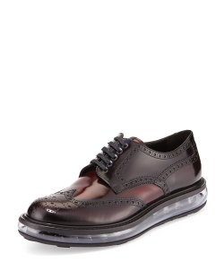 Prada Levitate Dark Red Leather Wing-Tip Derby Shoes