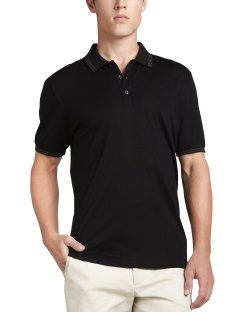 Salvatore Ferragamo Three-Button Black Polo Shirt