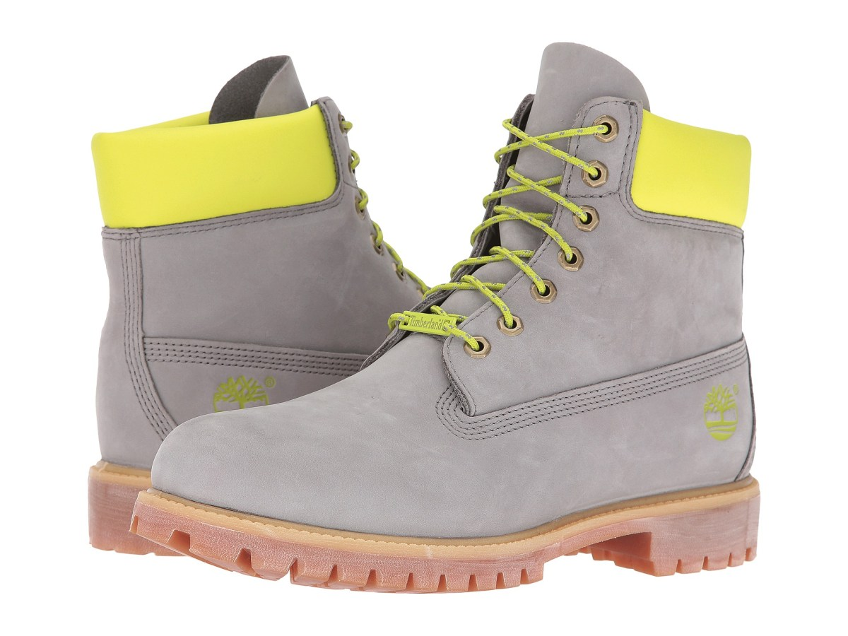 "Timberland 6"" Premium Grey/Green Reflective Mens Boots"