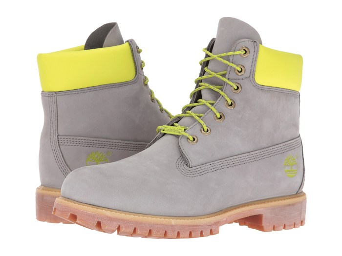Timberland 6″ Premium Grey/Green Reflective Mens Boots