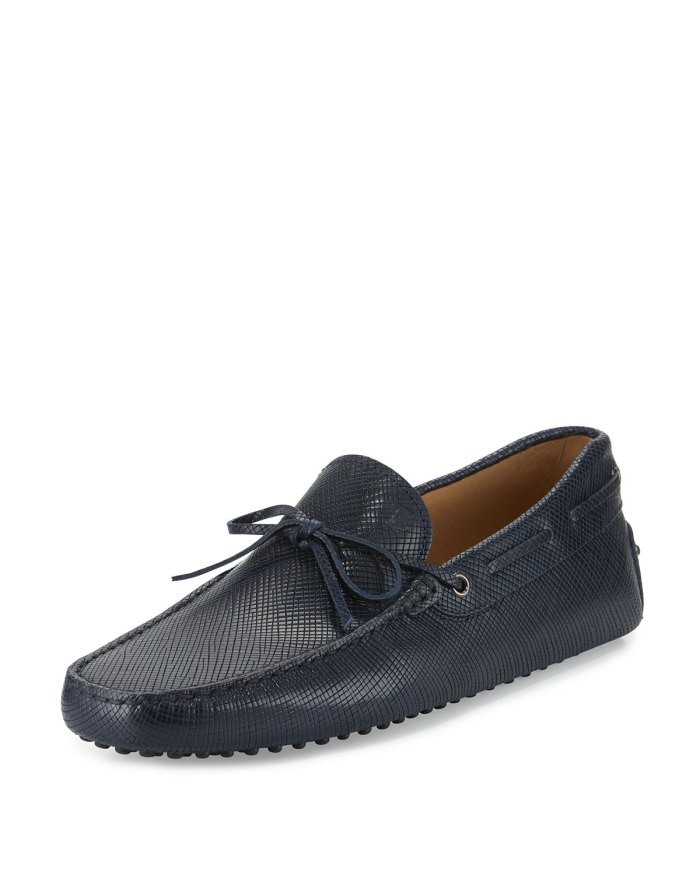 Tod's Gommini Textured Leather Tie Navy Driver Shoes