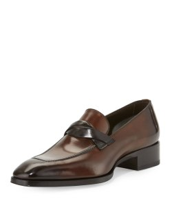 TOM FORD Gianni Twist-Front Leather Loafer Shoes