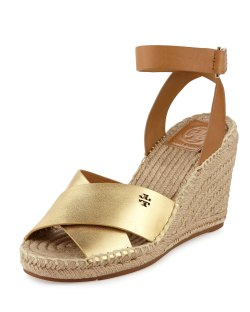 Tory Burch Bima Leather Gold & Royal Tan Wedge Espadrille Sandals