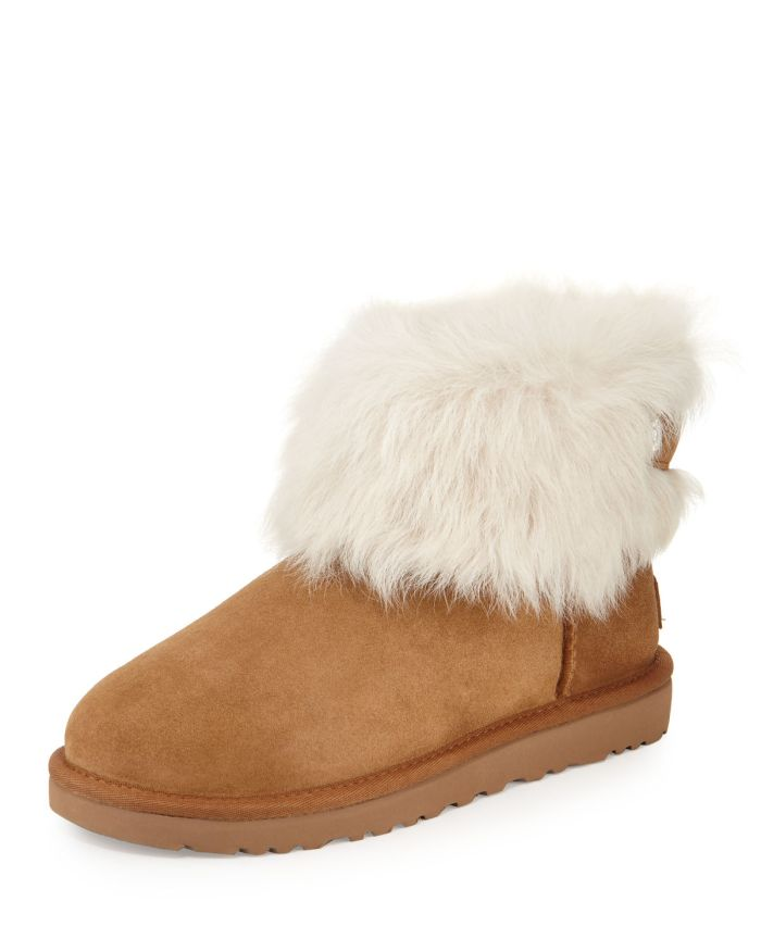 UGG Valentina Crystal-Button Shearling Fur Boot