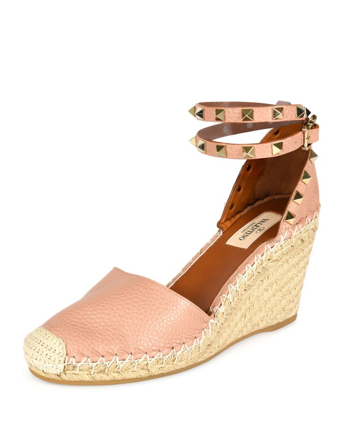 Valentino Rockstud Double Espadrille Wedge Pump Shoes