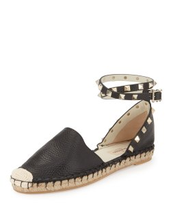 Valentino Rockstud Leather Ankle-Wrap Espadrille Flat