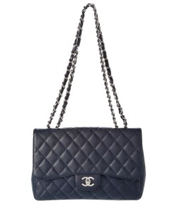 Chanel Navy Quilted Caviar Leather Jumbo Single Flap Handbag
