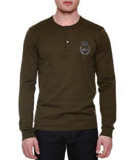 Dolce & Gabbana Embroidered-Crown Long-Sleeve Henley Shirt