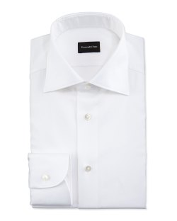 Ermenegildo Zegna White-On-White Textured Dress Shirt