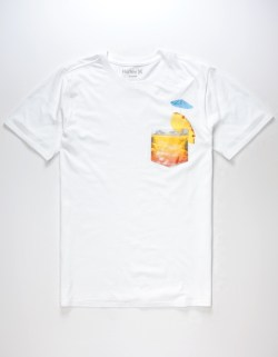 HURLEY Need A Drink Tropical White Pocket Tee