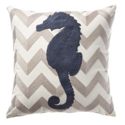Seahorse Chevron Decorative Pillow