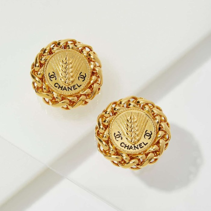 Vintage Chanel Medallion Wheat Earrings