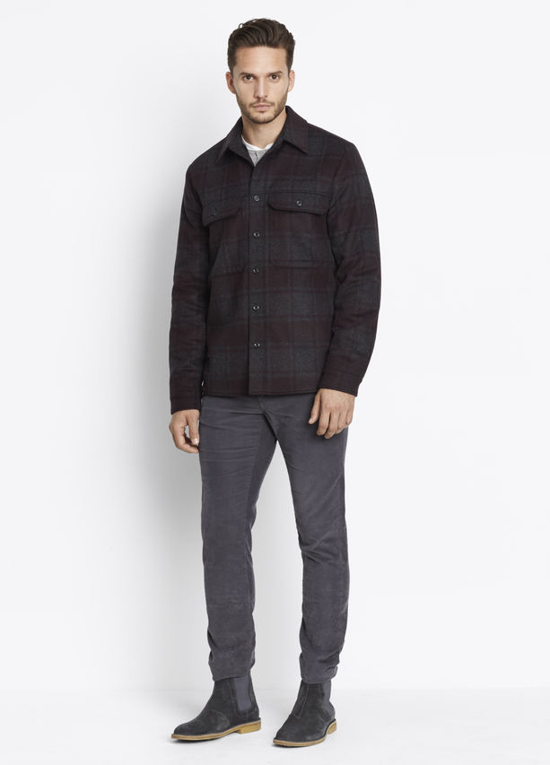 Vince Wool Plaid Military Mens Shirt Jacket