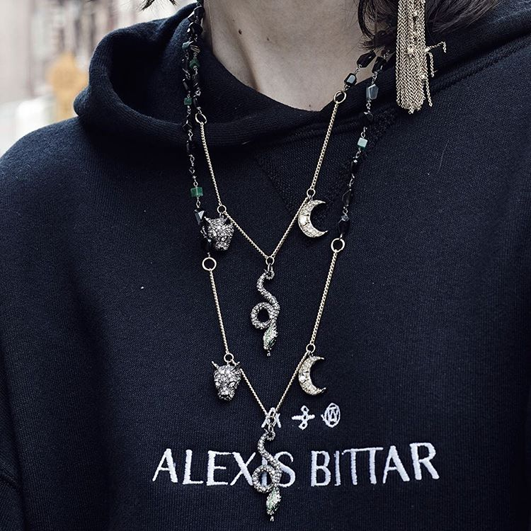 Alexis Bittar Crystal Encrusted Figurine Station Necklace