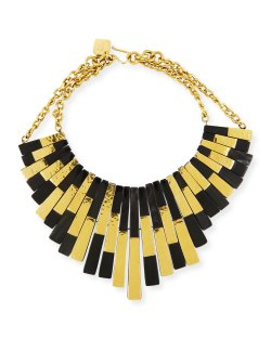 Ashley Pittman Kifalme Dark Horn & Bronze Bib Necklace
