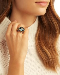 Kenneth Jay Lane Blue Crystal Cocktail Ring