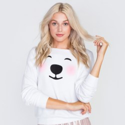 Wildfox Polar Bear Emoji Baggy Beach Jumper