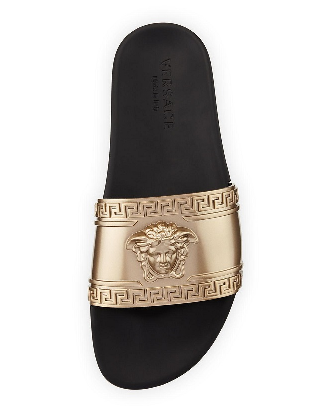 Versace Metallic Medusa-Head Slide Sandals