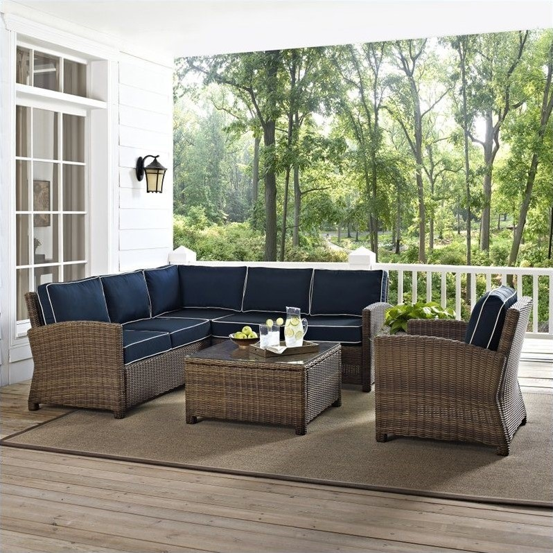 Crosley Furniture Bradenton 5 Piece Outdoor Wicker Seating Set with Navy Cushions