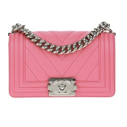 Chanel Pink Lambskin Chevron Small Bag