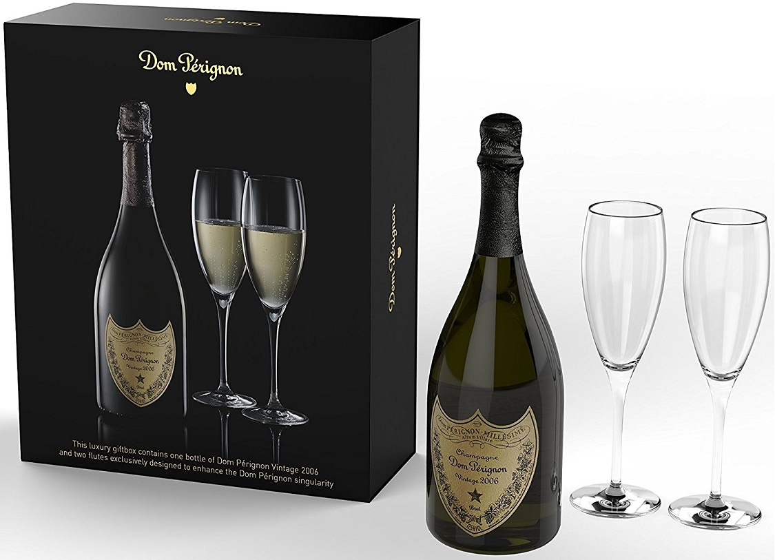 2006 Dom Perignon Champagne 750 mL Wine With 2 Flutes