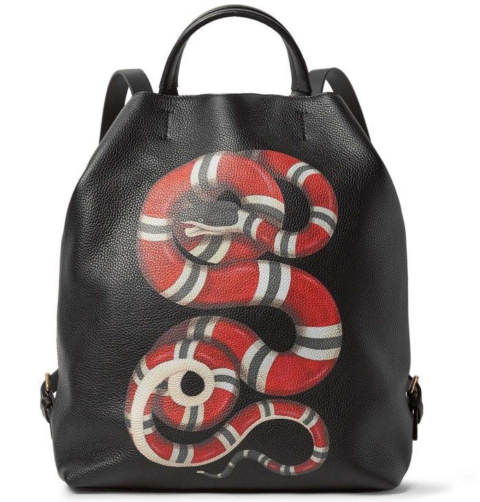 GUCCI Printed Snake Full-Grain Leather Convertible Bag