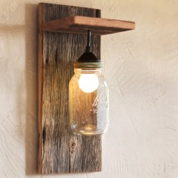 Handmade Barn Wood & Mason Jar Wall Light Fixture