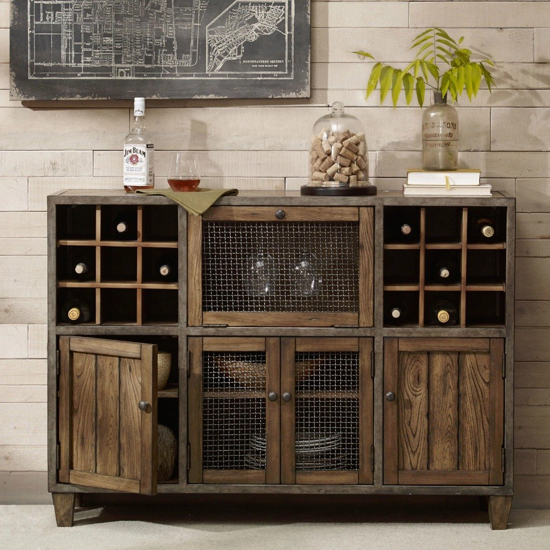 Industrial Reclaimed Wood Vintage Wine Rack Sideboard