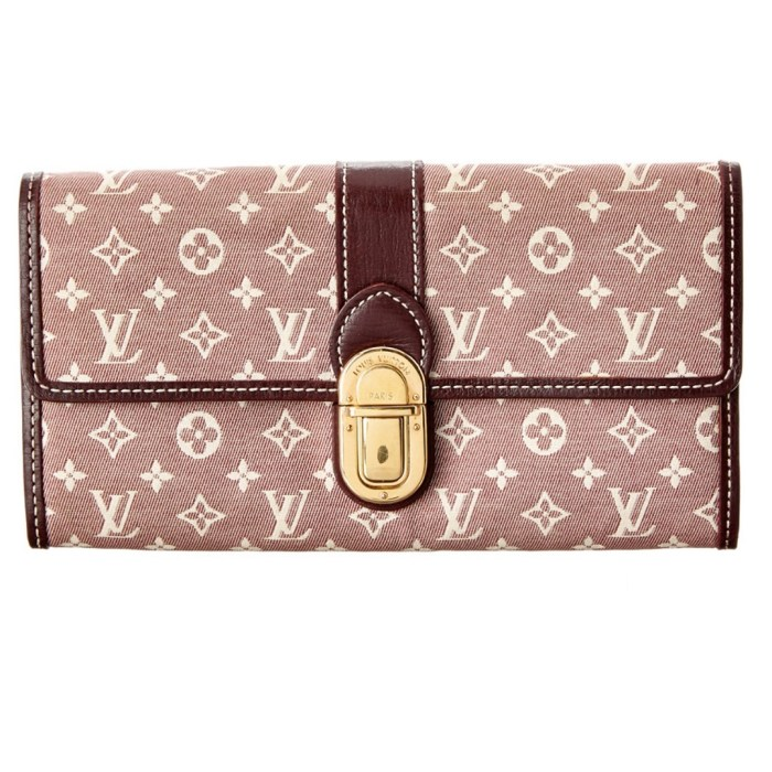 Louis Vuitton Cerise Monogram Mini Lin Sarah Long Wallet