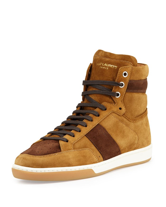Saint Laurent Colorblock Coffee & Tan Suede High-Top Mens Sneakers