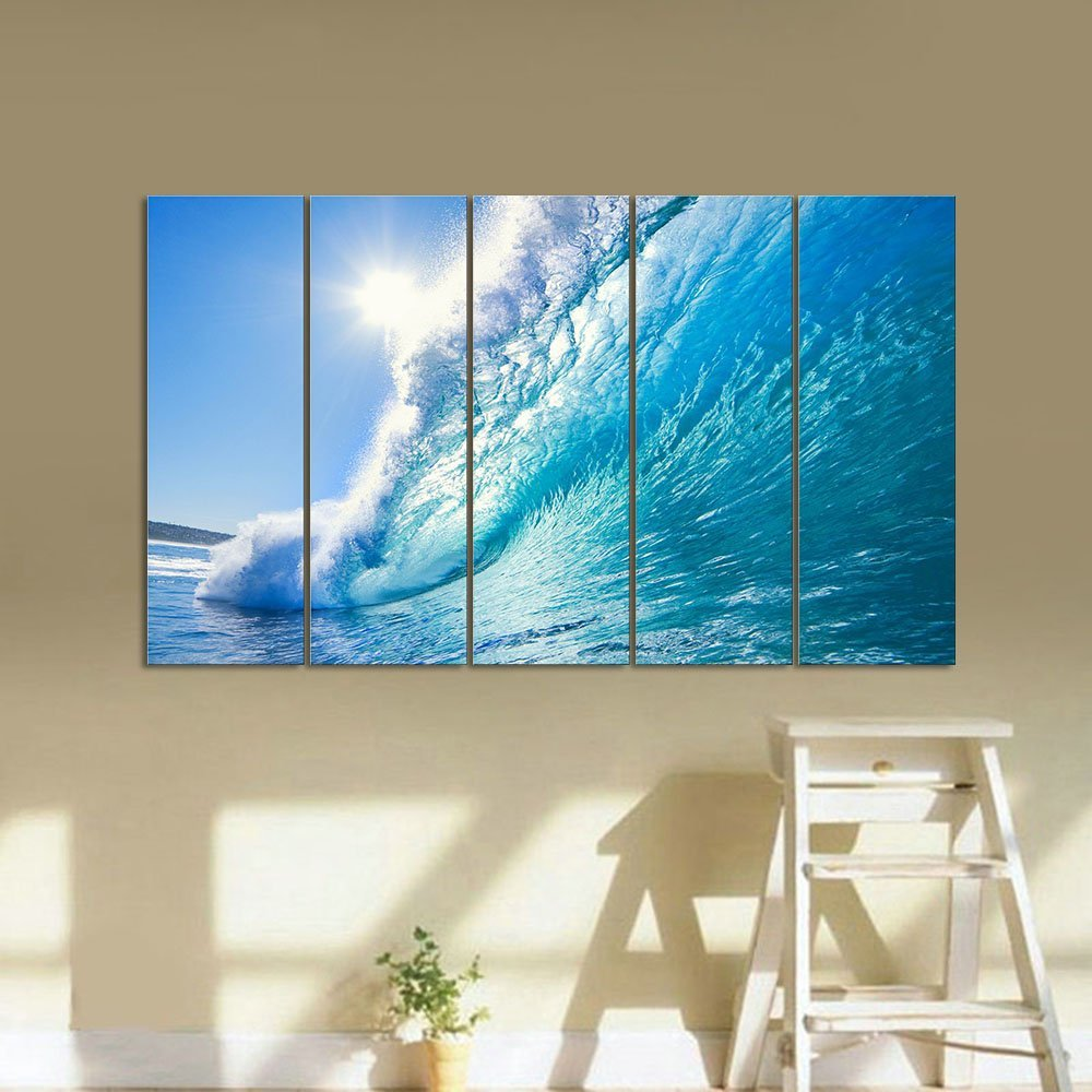 Wave Photography 5 Panel Canvas Ocean Wall Art