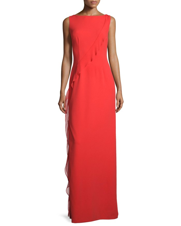 Aidan Mattox Sleeveless Boat-Neck Ruffled Red Gown